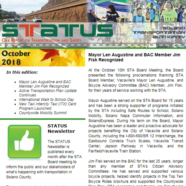 October STATUS Newsletter 2018